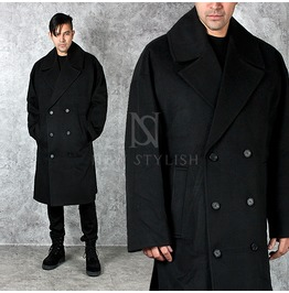 Wide Collar Accent Double Breasted Loose Fit Overcoat 112