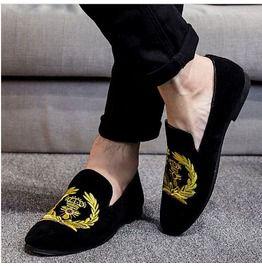 bc1c0351e109c New Handmade Men Black Embroidered Loafer Velvet Shoes, Velvet Shoes