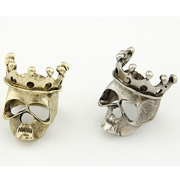 Crowned Skull Bling Diva Ring Bronze Or Silver