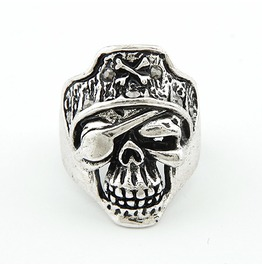 Men's Pirate Skull Ring Silver