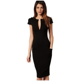 Black Ponti Dress With Pockets Size Small Uk 6/8