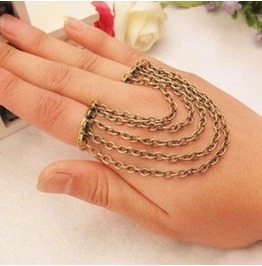 Double Bronze Ring & Chains