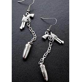 One Shot Silver Pistol Guns And Bullets Chain Dangle Earrings