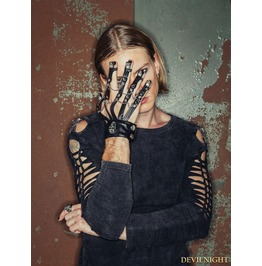 Ge002 Black Gothic Punk Style Glove For Men