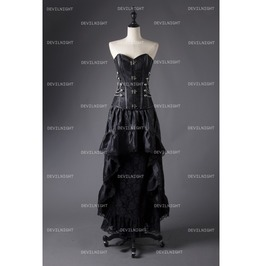 Black Steampunk Lace Gothic Corset Prom Party Dress