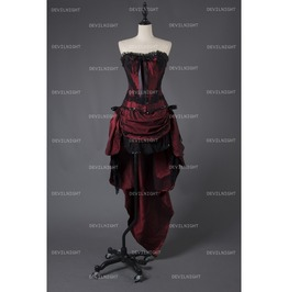 Rebelsmarket wine red gothic short burlesque corset prom party high low dress dresses 4