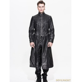 Ct03601 Black And Bronze Gothic Punk Long To Short Metal Pu Coat For Men