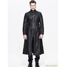 Ct03602 Black And Bronze Gothic Punk Long To Short Metal Pu Coat For Men