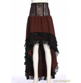 Sp 188 Fc Browm Steampunk Asymmetric High Waist Skirt
