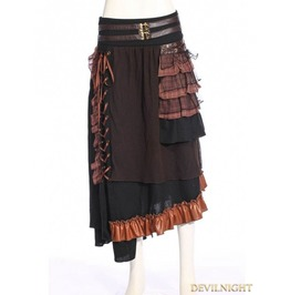 Sp 187 Bf Black Steampunk Splicing Long Skirt