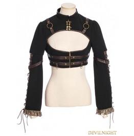 Sp 184 Bk Black Steampunk Long Sleeves Short Jacket For Women