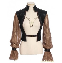 Sp 183 Bf Steampunk Splicing Sleeves Short Jacket For Women