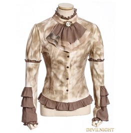 Sp 182 Wf Vintage Coffee Steampunk Shirt With Removable Tie For Women