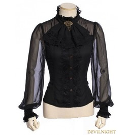 Sp 180 Bk Black Steampunk Shirt With Removable Tie For Women