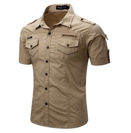 Men's Military Casual Slim Fitted Cotton Cargo Short Sleeve Shirt