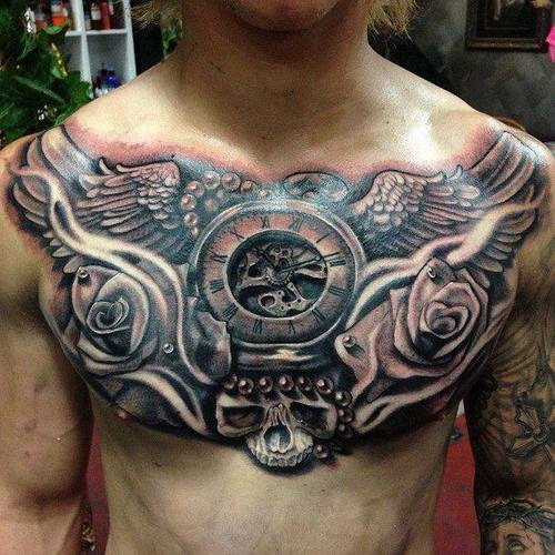 Wonderful full chest tattoos for men