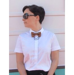Leather Bow Tie Pin Brooch With Chain by Loli. Choice of Color.