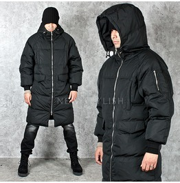Wide Padding Duck Down Black Parka 27