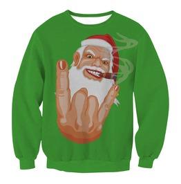 Funny Santa Claus Print Sweatshirts Women Pullovers Christmas Gift
