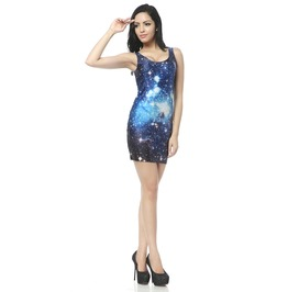 Blue Space Milky Way Bodycon Dress Tank Tops