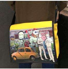 Student, Hitch Print, Benga Rabbit Yellow Vegan Leather Messenger Bag