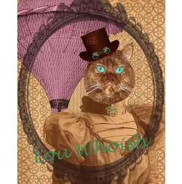 Steampunk Kitty N Purple Airship Mixed Media