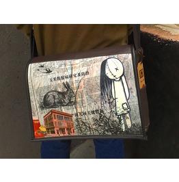 Student, Buba Print, Benga Rabbit Brown Vegan Leather Messenger Bag