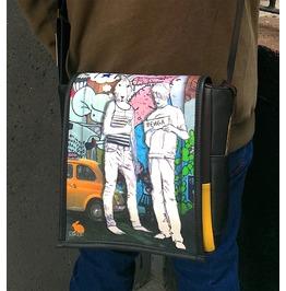 Eskimo, Hitch Print, Benga Rabbit, Black Vegan Leather Messenger Bag