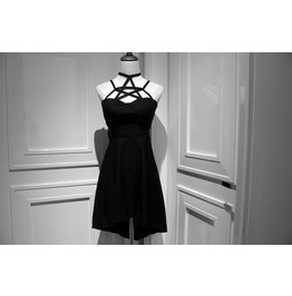 Punk Rock Designer Lace Up Style Black Dresses