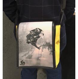 Eskimo, Silver Print, Benga Rabbit, Yellow Vegan Leather Messenger Bag