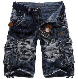 Camouflage multi pockets mens cargo shorts no belts shorts and capris