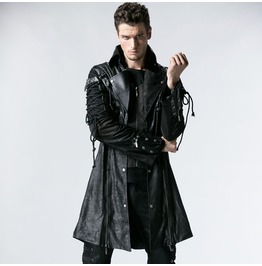 Black Long Sleeves Leather Gothic Trench Coat For Men Y 349