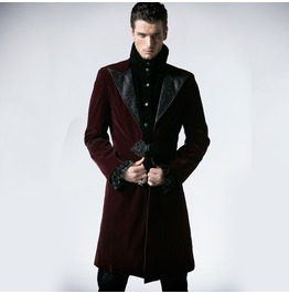 Red Velvet Gothic Chinese Style Trench Coat For Men