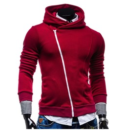 Lateral Hoodie With Oblique Zipper