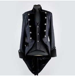 Black Pattern Double Breasted Tuxedo Style Gothic Jacket For Men