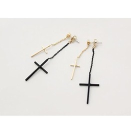 Fashion Two Colors Cross Long Dangle Earrings