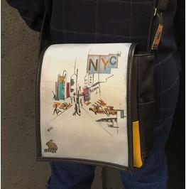 Eskimo, Nyc Print, Benga Rabbit, Black Vegan Leather, Messenger Bag