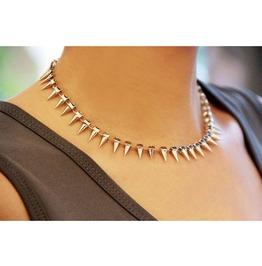 Vintage Rhinestone Rivet Choker Necklace