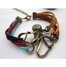 Vintage Octopus Colorful Leather Strap Bracelet