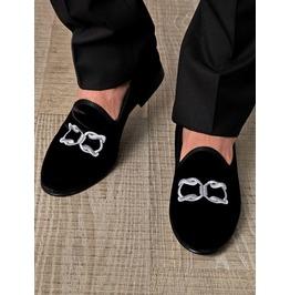 New Mens Velvet Shoes, Handmade Men Embroidered Velvet Casual Shoes
