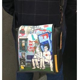 Eskimo, Hitch 2 Print, Benga Rabbit, Black Vegan Leather, Messenger Bag