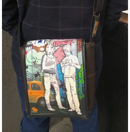 Eskimo, Hitch Print, Benga Rabbit, Brown Vegan Leather Messenger Bag