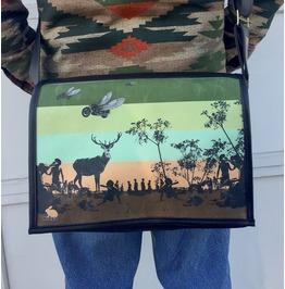 Student, Fly Bike Print, Benga Rabbit, Black Vegan Leather Messenger Bag