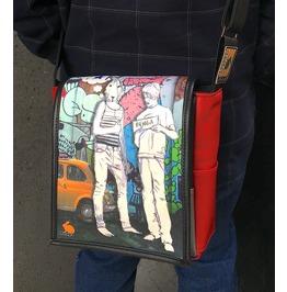 Eskimo, Hitch Print, Benga Rabbit, Red Vegan Leather Messenger Bag