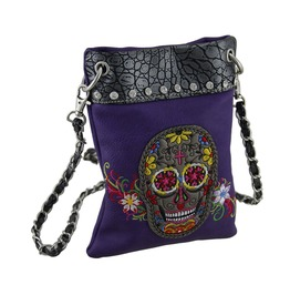 Embroidered Sugar Skull Rhinestone Trim Crossbody Purse