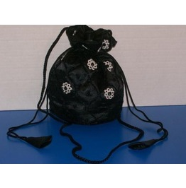 Black & White Draw String Handbag / Shoulder Bag
