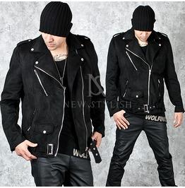 Diagonal Zipper Accent Black Suede Belted Jacket 88