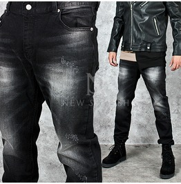 Washed Black Distressed Slim Straight Jeans 248