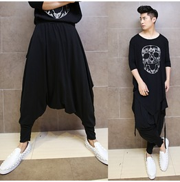 Spring Black Casual Harem Pants