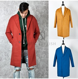 Hidden Button Closure Accent Basic Long Coat 115